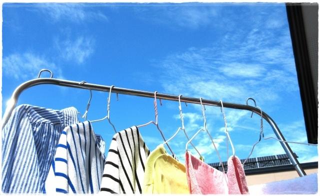洗濯ものが干してある画像