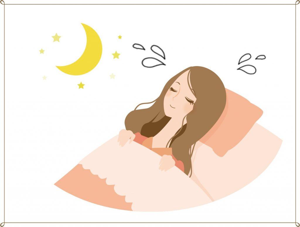 寝汗をかく女性のイラスト