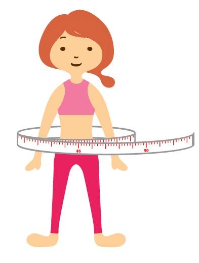 ボディサイズを計測する女性のイラスト