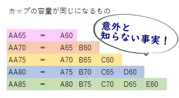 AAカップへの置き換え表