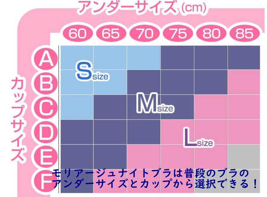 モリアージュナイトブラのサイズ表