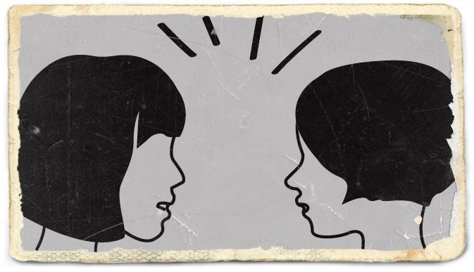 悪いうわさ話をする女性たち