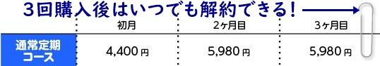 ラシュシュ通常定期コースの価格表