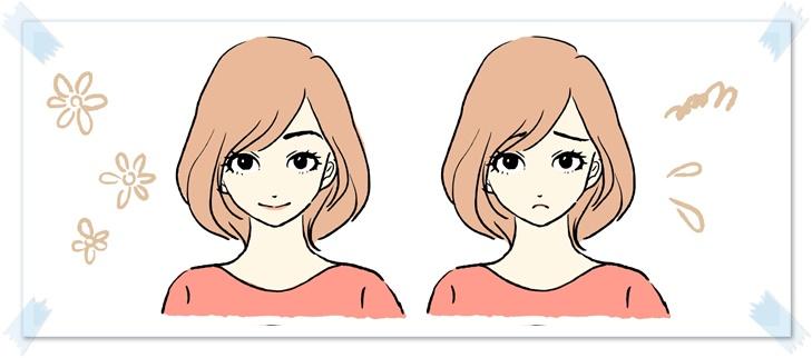 喜ぶ女性と悲しむ女性