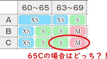 65Cのサイズ表